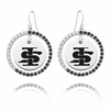 Illinois State Black and White CZ Circle Earrings