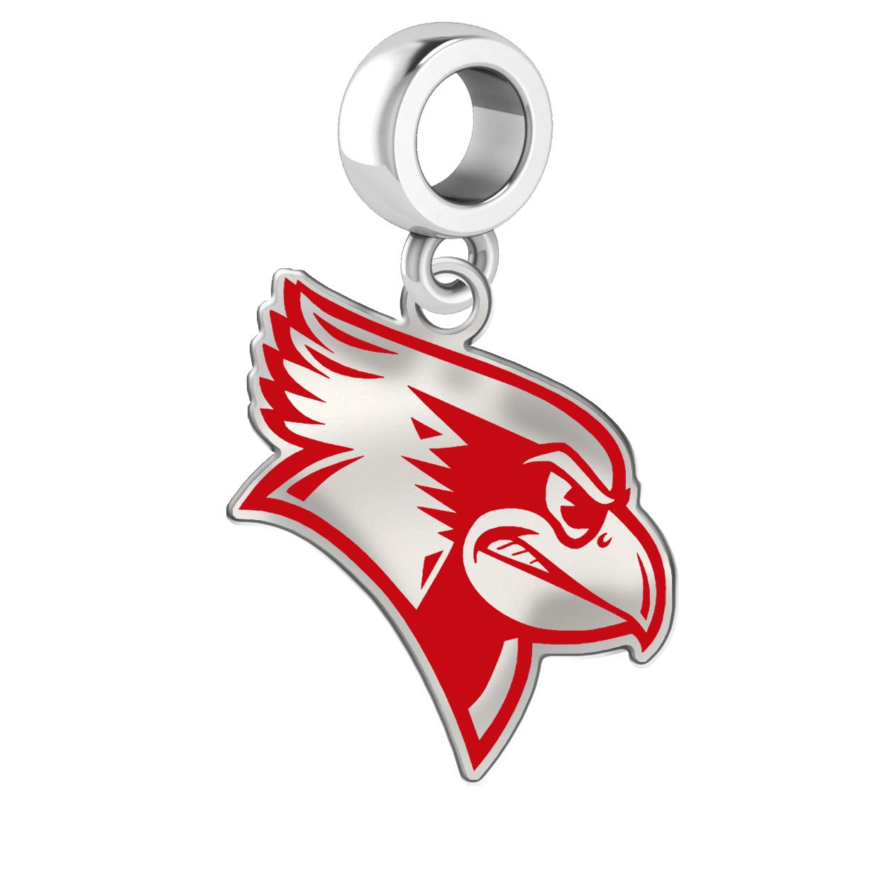 210ff6663 Wholesale Illinois State Red Birds Silver Logo and School Color Drop Charm.  Illinois State Red Birds Charm.