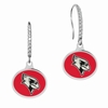 Illinois State Red Birds Sterling Silver and CZ Drop Earrings