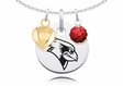 Illinois State Redbirds Necklace with Heart and Crystal Accents