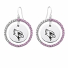 Illinois State Redbirds Pink CZ Circle Earrings