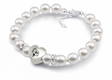 Illinois State Redbirds White Pearl Heart Bracelet