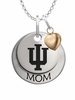 Indiana Hoosiers MOM Necklace with Heart Charm