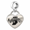 Indiana State Engraved Heart Dangle Charm