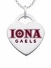 Iona College Gaels Color Logo Heart Charm