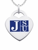 Jackson State Tigers Logo Heart Pendant With Color