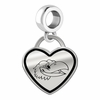 Kansas Jayhawks Border Heart Dangle Charm
