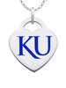 Kansas Jayhawks Logo Heart Pendant With Color