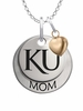 Kansas Jayhawks MOM Necklace with Heart Charm