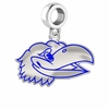 Kansas Jayhawks Silver Logo and School Color Drop Charm