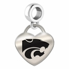 Kansas State Engraved Heart Dangle Charm