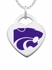 Kansas State Wildcats Logo Heart Pendant With Color