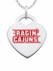 Louisiana Lafayette Ragin' Cajuns Color Logo Heart Charm