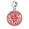 Louisiana Ragin Cajuns Silver Logo and School Color Drop Charm
