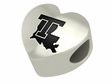 Louisiana Tech Bulldogs Heart Shape Bead