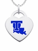 Louisiana Tech Bulldogs Logo Heart Pendant With Color