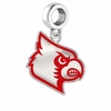 Louisville Cardinals Silver Logo and School Color Drop Charm