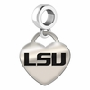 LSU Tigers Engraved Heart Dangle Charm