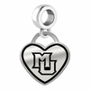 Marquette Golden Eagles Border Heart Dangle Charm