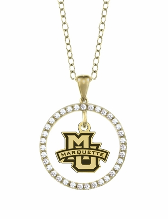 Marquette Golden Eagles Gold and Diamond Circle Pendant