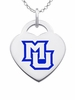 Marquette Golden Eagles Logo Heart Pendant With Color
