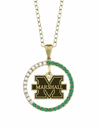 Marshall Thundering Herd Emerald and Diamond Necklace