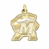 Maryland Terrapins 14K Yellow Gold Natural Finish Cut Out Logo Charm