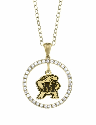 Maryland Terrapins Gold and Diamond Circle Pendant