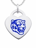 Memphis Tigers Logo Heart Pendant With Color