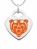 Mercer Bears Logo Heart Pendant With Color