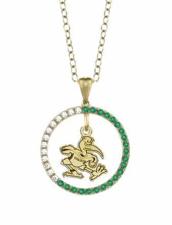 Miami FL Hurricanes Emerald and Diamond Necklace