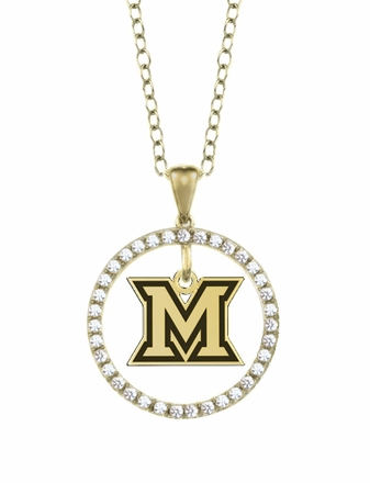 Miami OH Redhawks Gold and Diamond Circle Pendant