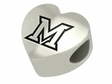 Miami Redhawks Heart Shape Bead