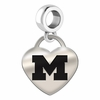 Michigan Engraved Heart Dangle Charm