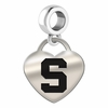 Michigan State Engraved Heart Dangle Charm
