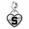 Michigan State Spartans Border Heart Dangle Charm