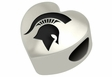 Michigan State Spartans Heart Shape Bead