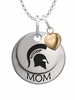 Michigan State Spartans MOM Necklace with Heart Charm