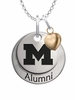 Michigan Wolverines Alumni Necklace with Heart Accent