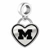 Michigan Wolverines Border Heart Dangle Charm