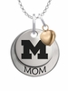 Michigan Wolverines MOM Necklace with Heart Charm
