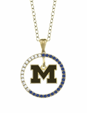 Michigan Wolverines Sapphire and Diamond Necklace