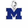 Michigan Wolverines Silver Logo and School Color Drop Charm