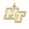 Middle Tennessee State Blue Raiders 14K Yellow Gold Natural Finish Cut Out Logo Charm