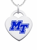 Middle Tennessee State Logo Heart Pendant With Color