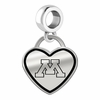 Minnesota Golden Gophers Border Heart Dangle Charm