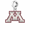 Minnesota Golden Gophers Silver Logo and School Color Drop Charm
