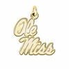 Mississippi Ole Miss Rebels 14K Yellow Gold Natural Finish Cut Out Logo Charm