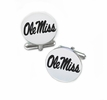 Mississippi Ole Miss Rebels Cufflinks Stainless Steel Round Top