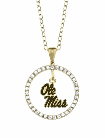 Mississippi Ole Miss Rebels Gold and Diamond Circle Pendant